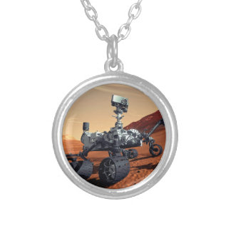 Mars Curiosity Rover Round Pendant Necklace