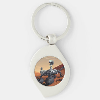 Mars Curiosity Rover Silver-Colored Swirl Metal Keychain