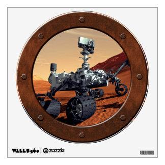 Mars Curiosity Rover Steampunk Porthole Window Wall Sticker