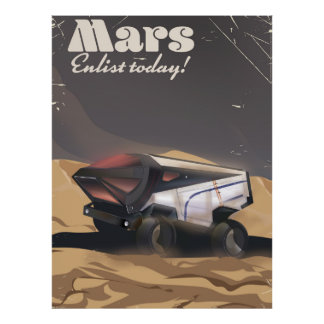 Mars, Enlist today! Retro Military space poster