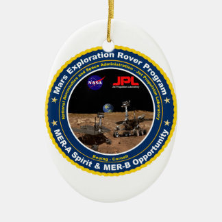 Mars Exploration Rovers: Spirit & Opportunity Double-Sided Oval Ceramic Christmas Ornament