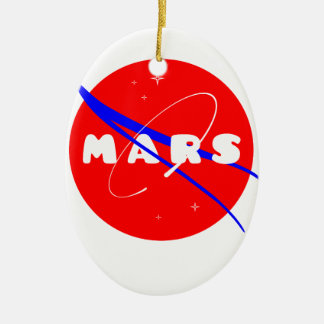 Mars Fictional Space Mission Double-Sided Oval Ceramic Christmas Ornament