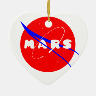 Mars Fictional Space Mission Double-Sided Heart Ceramic Christmas Ornament