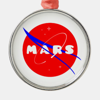 Mars Fictional Space Mission Round Metal Christmas Ornament