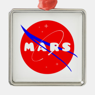 Mars Fictional Space Mission Square Metal Christmas Ornament