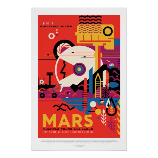 Mars Historic Sight vacation advert space tourism Poster