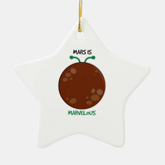 Mars is Marvelous Double-Sided Star Ceramic Christmas Ornament