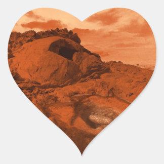 Mars landscape heart sticker