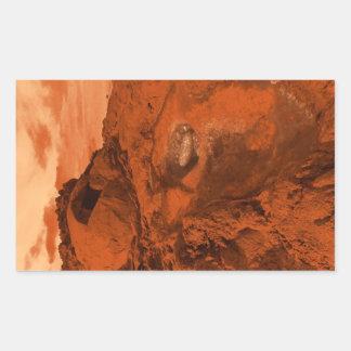 Mars landscape rectangular sticker