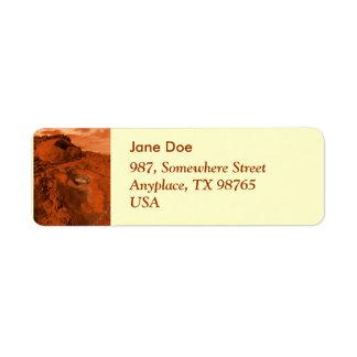 Mars landscape return address label