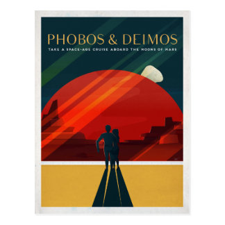 Mars Moons Phobos and Deimos Space Tourist Postcard