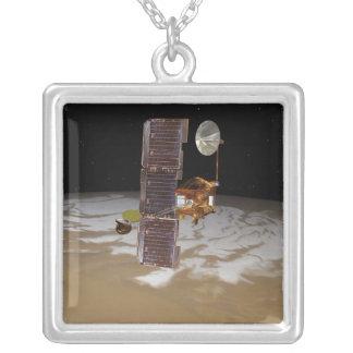 Mars Odyssey spacecraft Square Pendant Necklace