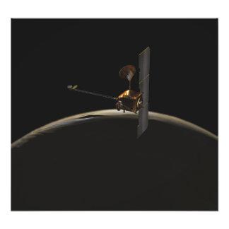Mars Odyssey spacecraft over martian sunrise Photo Print