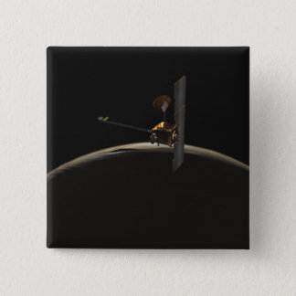 Mars Odyssey spacecraft over martian sunrise Pinback Button