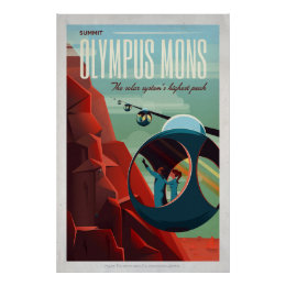 Mars Olympus Mons Retro Space Tourist Poster