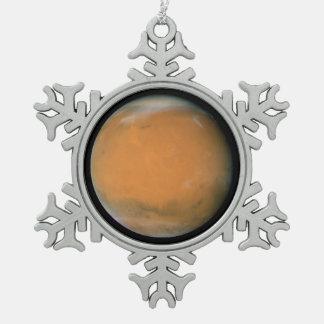 Mars on Dec. 3, 2007; longitude ~225 degrees Snowflake Pewter Christmas Ornament