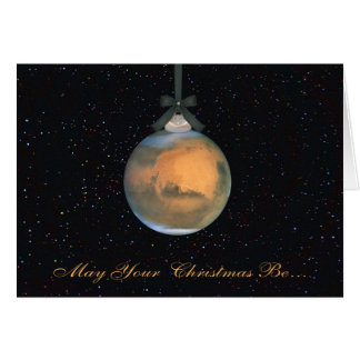 Mars Planet Christmas Greeting Card