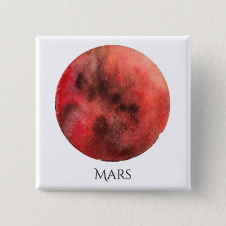 Mars Planet Watercolor Square Button