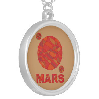 Mars Red Planet Art Silver Tone Necklace Jewelry