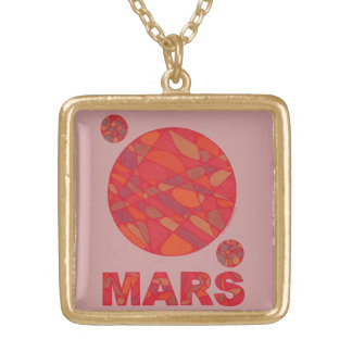 Mars Red Planet Gold Finish Necklace Jewelry