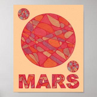 """Mars Red Planet Space Geek Art 8"""" x 10"""" Print"""