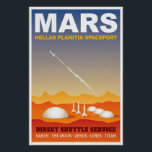 "Mars Retro Space Travel Illustration Poster<br><div class=""desc"">This retro space travel illustration, in the style of a vintage travel poster, depicts a futuristic space port on the surface of the planet Mars. Four giant domes sit in the center of Hellas Planitia, a vast plain inside the Hellas impact crater on the southern hemisphere of Mars, while three...</div>"