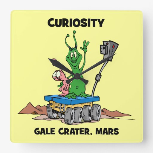 Mars Rover Curiosity Square Wall Clock