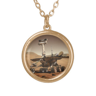 Mars Rover Round Pendant Necklace