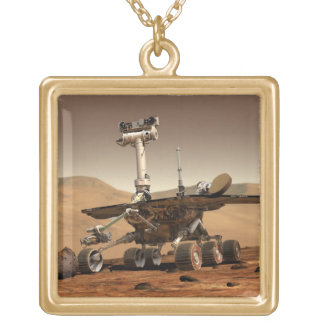 Mars Rover Square Pendant Necklace