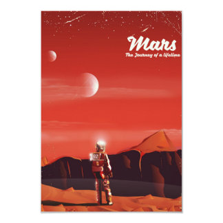 Mars Science fiction vintage travel poster Card