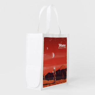 Mars Science fiction vintage travel poster Grocery Bag