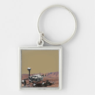 Mars Science Laboratory Silver-Colored Square Keychain
