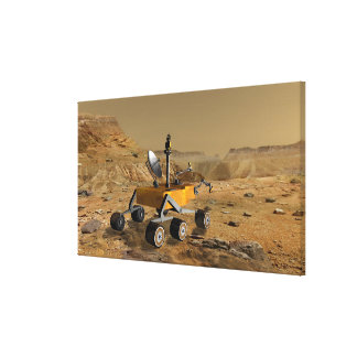 Mars Science Laboratory travels near a canyon Canvas Print