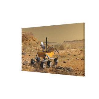 Mars Science Laboratory travels near a canyon Canvas Print