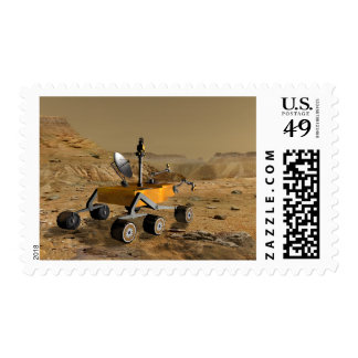 Mars Science Laboratory travels near a canyon Postage