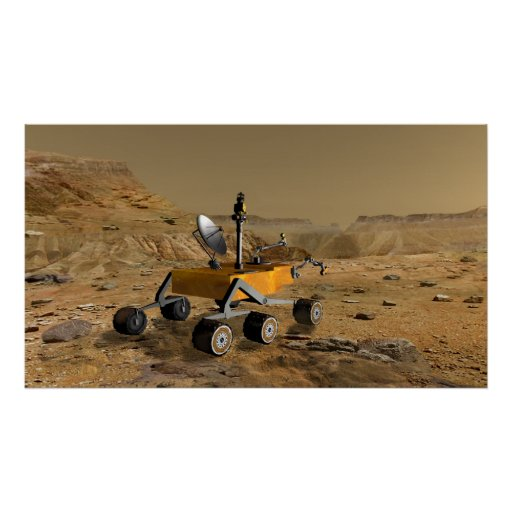 Mars Science Laboratory travels near a canyon Poster