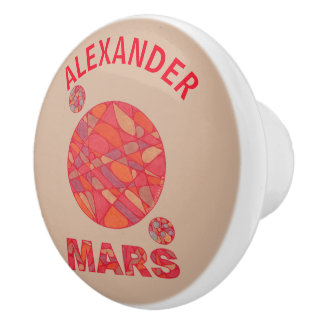 Mars The Red Planet Space Geek Solar System Fun Ceramic Knob