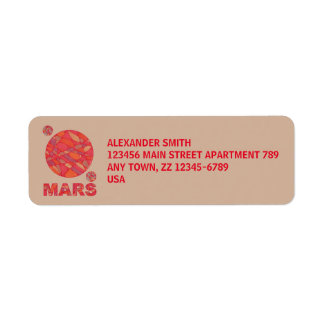 Mars The Red Planet Space Geek Solar System Fun Label