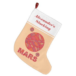 Mars The Red Planet Space Geek Solar System Fun Large Christmas Stocking