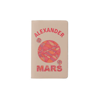 Mars The Red Planet Space Geek Solar System Fun Pocket Moleskine Notebook Cover With Notebook