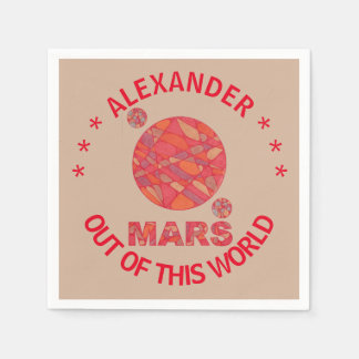 Mars The Red Planet Space Geek Solar System Fun Paper Napkin