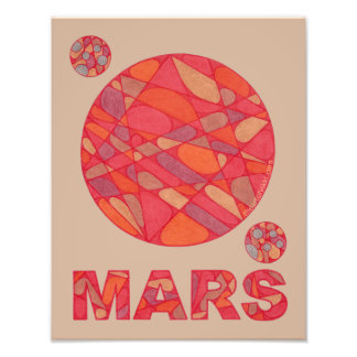 Mars The Red Planet Space Geek Solar System Fun Photo Print