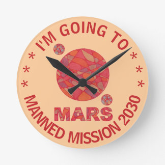 Mars The Red Planet Space Geek Solar System Fun Round Clock