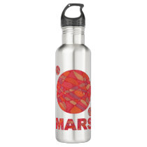 Mars The Red Planet Space Geek Solar System Fun Stainless Steel Water Bottle