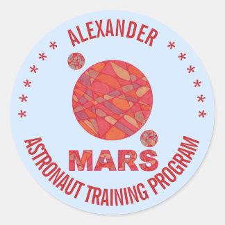 Mars The Red Planet Space Geek Solar System Fun Round Sticker