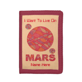 Mars The Red Planet Space Geek Solar System Fun Trifold Wallets