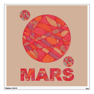 Mars The Red Planet Space Geek Solar System Fun Room Stickers