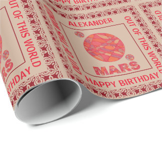 Mars The Red Planet Space Geek Solar System Fun Wrapping Paper