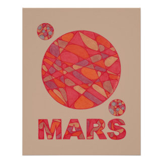 Mars The Red Planet Space Geek Solar System Fun Perfect Poster