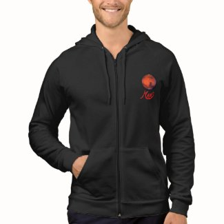 Mars (The Red Planet) Zip Front Hooded Sweatshirt